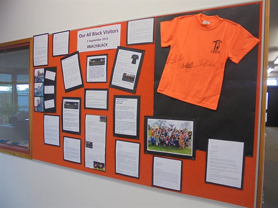 T3 2019 Letters to the All Blacks on Display in the School Office